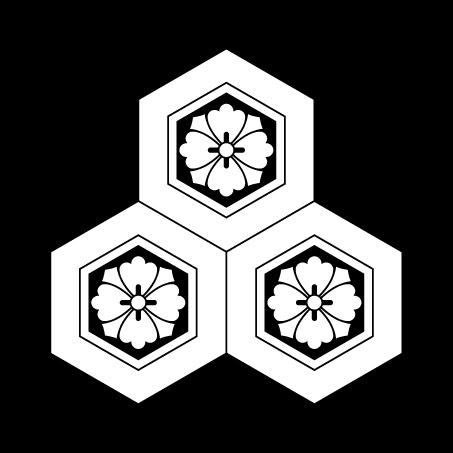 三つ盛亀甲に剣花角(厳島神社)